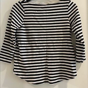 Black and white striped top with mid length sleeve
